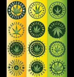 Cannabis Marijuana hemp green leaf symbol stamps vector image