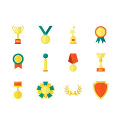 Cartoon awards color icons set vector