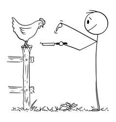 cartoon man or farmer holding pan and asking vector image