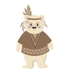 Cartoon polar bear indian vector