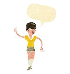 Cartoon pretty girl asking question with speech vector
