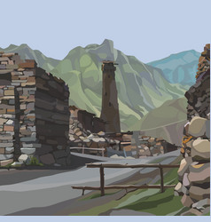 Cartoon stone buildings with a tower in the vector