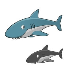 Cartoon toothy gray shark character vector image