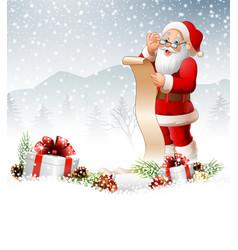 christmas background with santa read reward list vector image