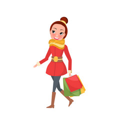 christmas shopping woman with packages vector image