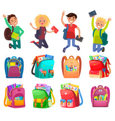 Classmates and backpack school object vector