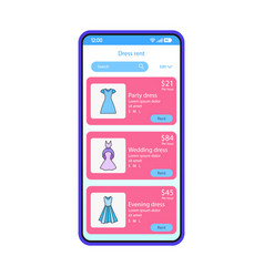 Clothes rental app smartphone interface template vector