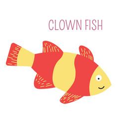 Clown fish underwater childish book character vector