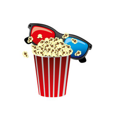 Color pop corn with 3d glasses icon vector