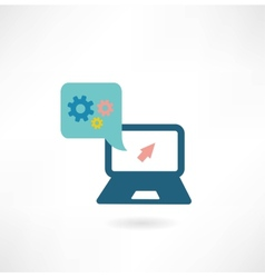 Computer icon with cogs vector image
