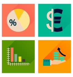 Concept of flat icons with long shadow money vector