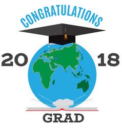 congratulations grad emblem badge template vector image