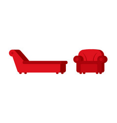 Couch and chair of psychologist psychotherapist vector