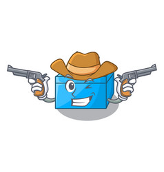 Cowboy character tissue box on wood floors vector