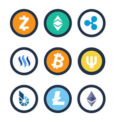 cryptocurrency different coins vector image