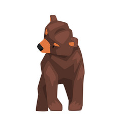 Cute brown grizzly bear wild forest animal vector