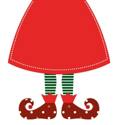 Cute christmas elf legs with skirt - red vector