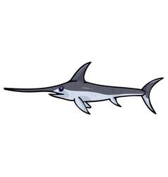 Cute ocean swordfish cartoon vector