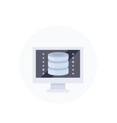 database and computer icon flat style vector image