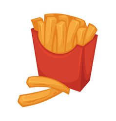 Delicious french fries in red smooth cardboard vector