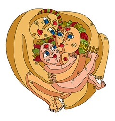 Family concept graphic artistic Mother fa vector image