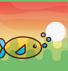fish sea life cartoon vector image