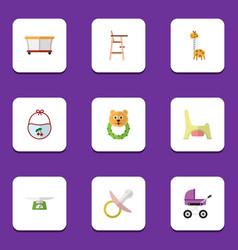 Flat icon child set of nipple toilet child chair vector