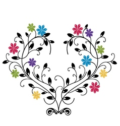 Flourishes with colored flowers vector