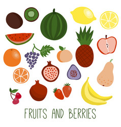 Fruits and berries flat icons vector