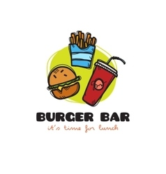 funny cartoon style snack bar logo vector image