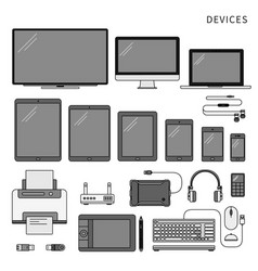 gadgets isolated on white line monochrome vector image
