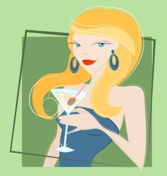 Girl drinking martini vector