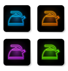 glowing neon kettle with handle icon isolated on vector image