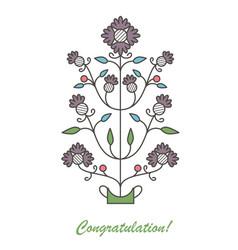 graphic flowers in flowerpot vector image