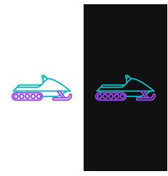 Green and purple line snowmobile icon isolated on vector