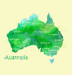 hand drawn watercolor map of australia isolated on vector image