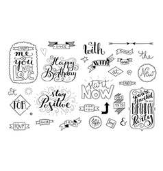 handlettering elements quotes and words vector image
