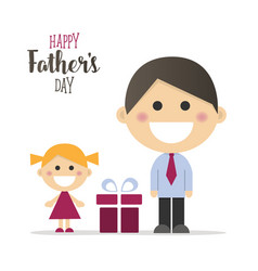 happy fathers day card with a gift vector image