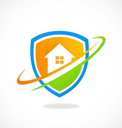 home shield protection logo vector image vector image