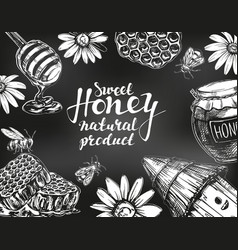 Honey frame drawn with chalk on blackboard design vector