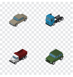 isometric transport set of freight truck auto vector image
