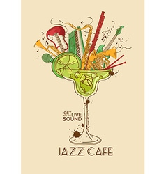 Jazz cafe concept with musical instruments in a vector image