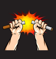 male hand breaking or destroy the cigarette vector image