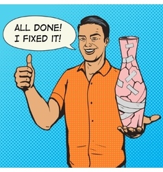 Man fixed vase with duct tape pop art vector