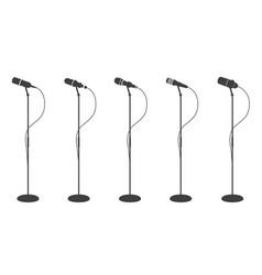 microphone silhouettes standing microphones audio vector image