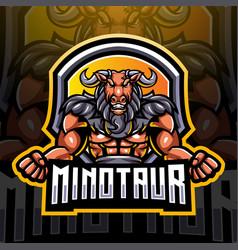 minotaur esport mascot logo design vector image