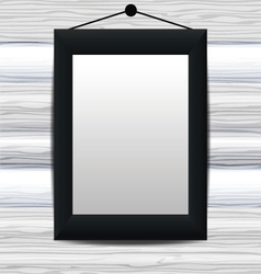 Mock up black frame on the white wooden wall vector