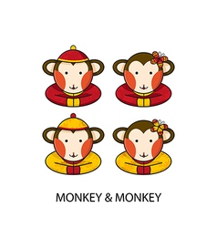 Monkey Chinese vector image