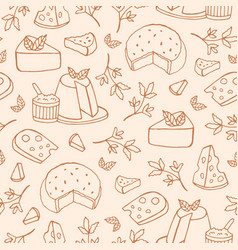 Monochrome seamless pattern with cheese of vector