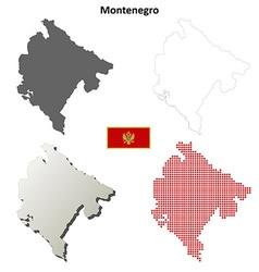 Montenegro outline map set vector